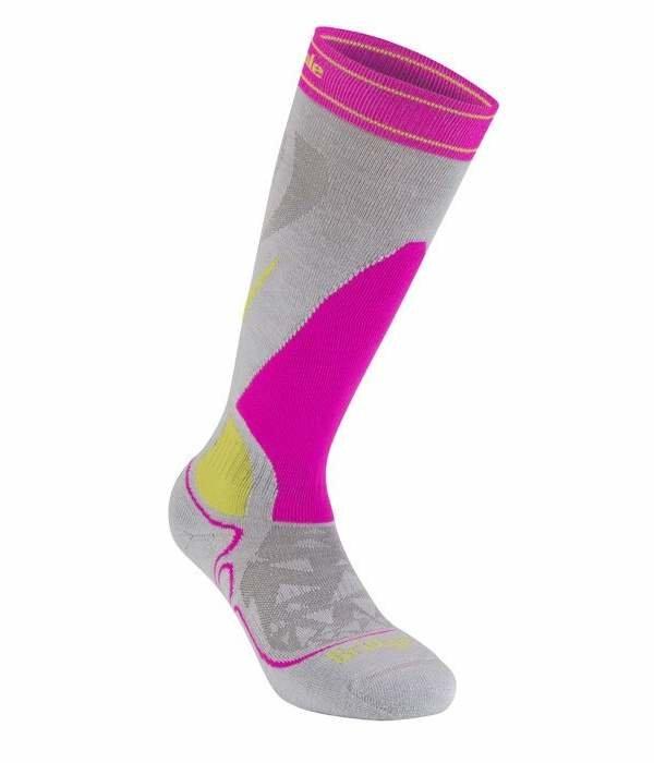 Růžovo-šedé dámské lyžařské ponožky Bridgedale