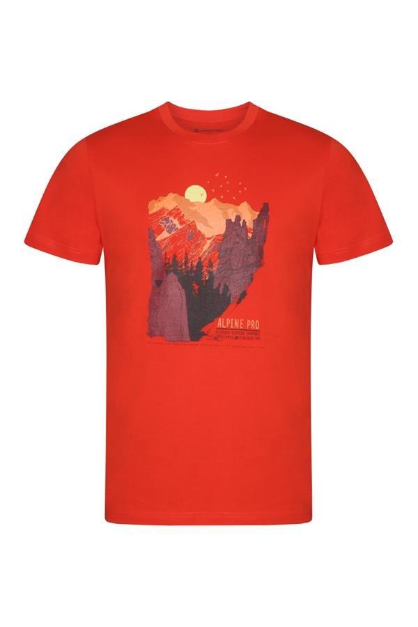 Oranžové pánské turistické tričko s krátkým rukávem Alpine Pro