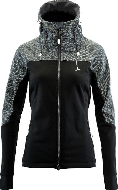 Černo-šedá softshellová dámská bunda na běžky Silvini