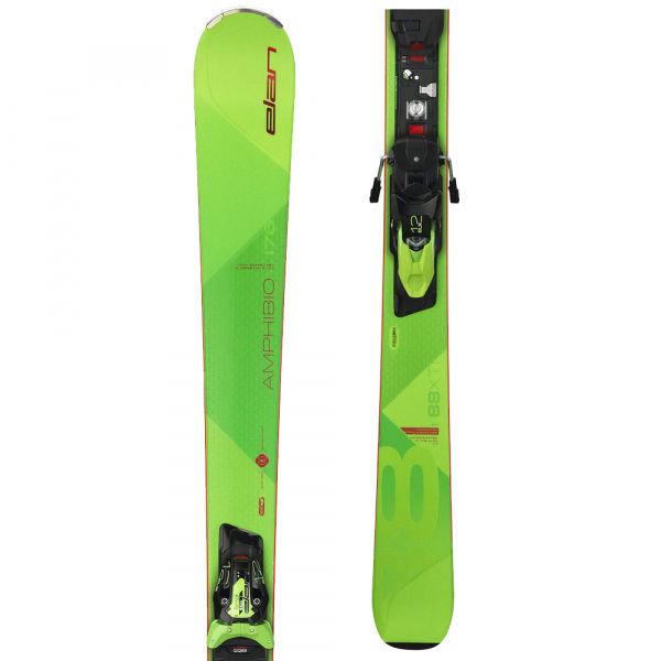 Zelené lyže s vázáním Elan - délka 170 cm