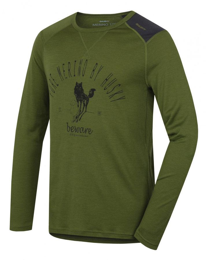 Zelené pánské termo tričko s dlouhým rukávem Husky - velikost XL
