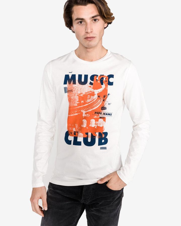 Bílé pánské tričko s dlouhým rukávem Pepe Jeans