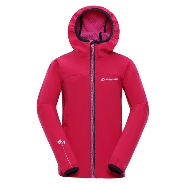 Růžová softshellová dívčí bunda s kapucí Alpine Pro - velikost 116-122