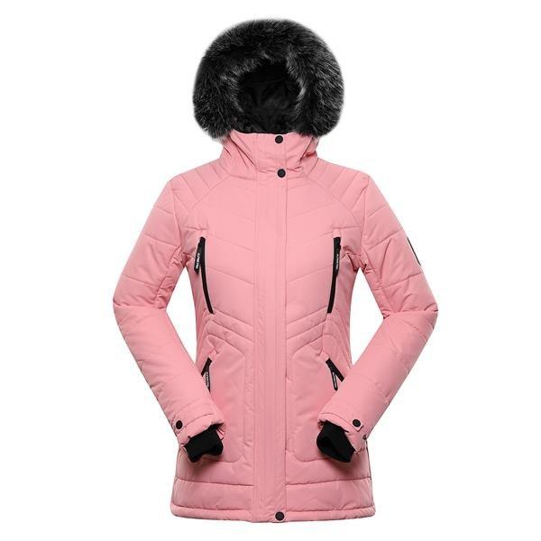 Růžová zimní dámská bunda s kapucí Alpine Pro