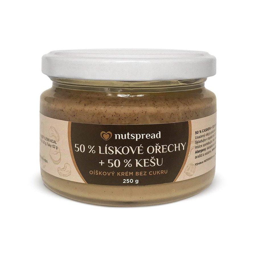 Máslo - 100% dvoubarevné oříškové máslo Nutspread lískový oříšek - kešu 250 g