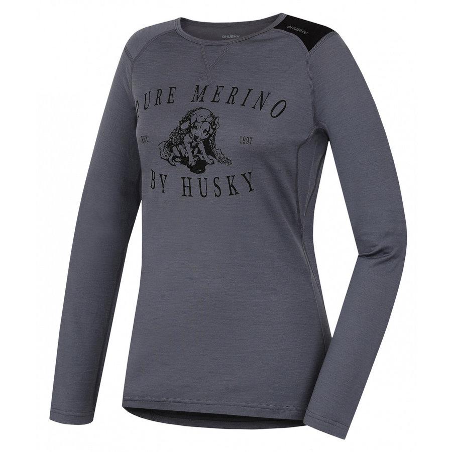 Šedé dámské funkční tričko s dlouhým rukávem Husky