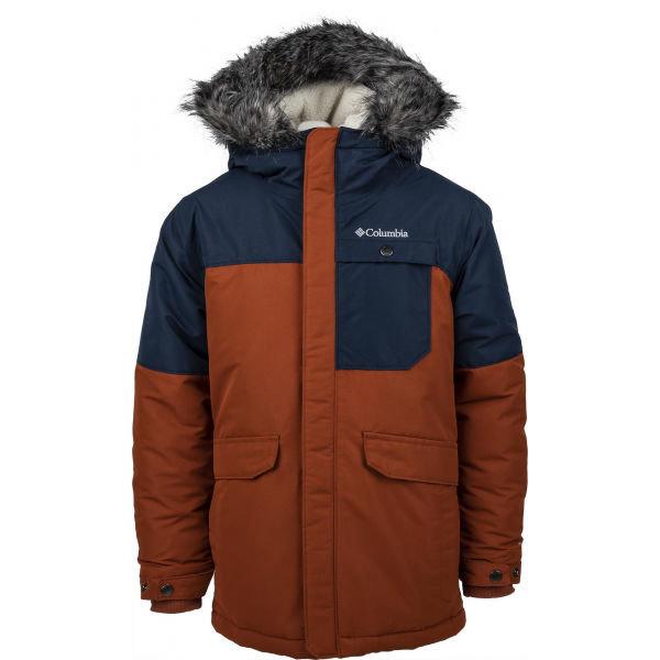 Černo-hnědá dětská zimní bunda s kapucí Columbia