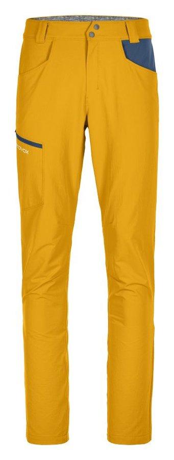 Žluté softshellové pánské turistické kalhoty Ortovox