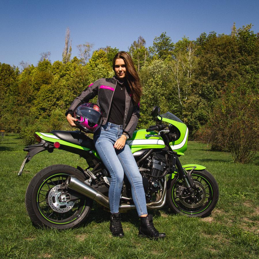 Černo-růžová dámská motorkářská bunda Monaca, W-TEC - velikost XL
