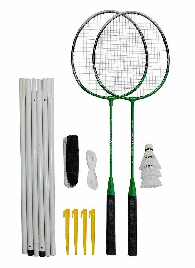 Sada na badminton - Badmintonový set 2x raketa, 3x míček, síť, vak