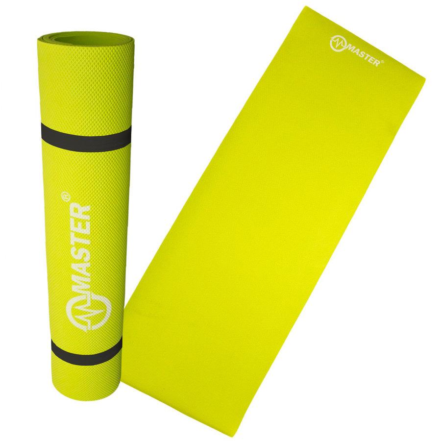 Žlutá podložka na jógu Master - délka 173 cm a tloušťka 0,4 cm