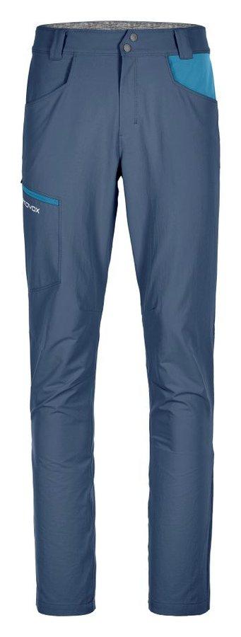 Modré softshellové pánské turistické kalhoty Ortovox