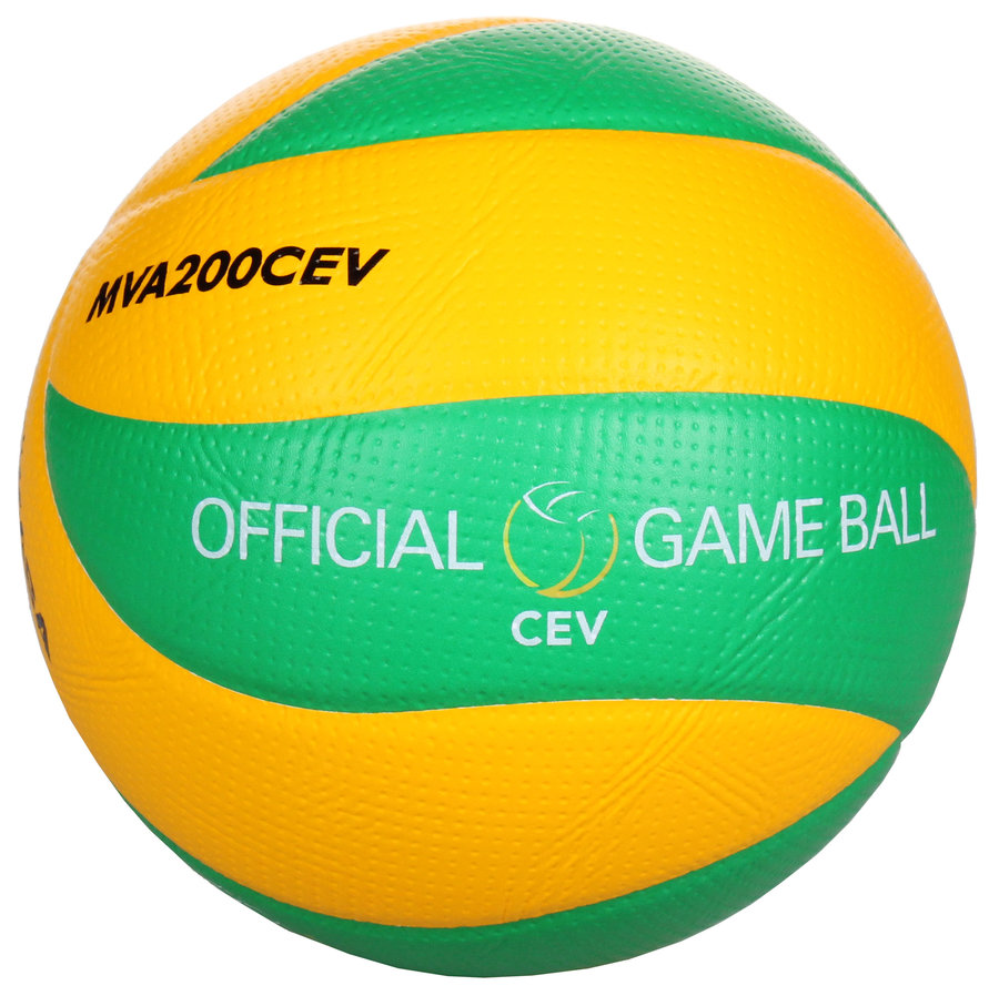 Zeleno-žlutý volejbalový míč MVA 200 CEV, Mikasa - velikost 5