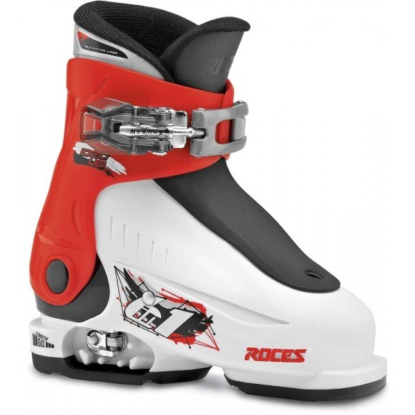 Bílo-černé dětské lyžařské boty Roces - velikost vnitřní stélky 16-18,5 cm
