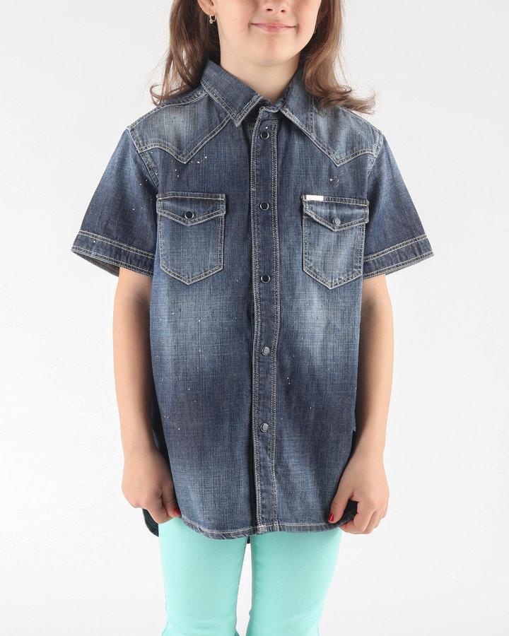 Modrá dívčí košile s krátkým rukávem Diesel