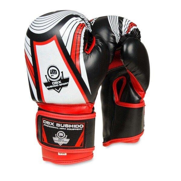 Bílo-černé boxerské rukavice Bushido - velikost 6 oz
