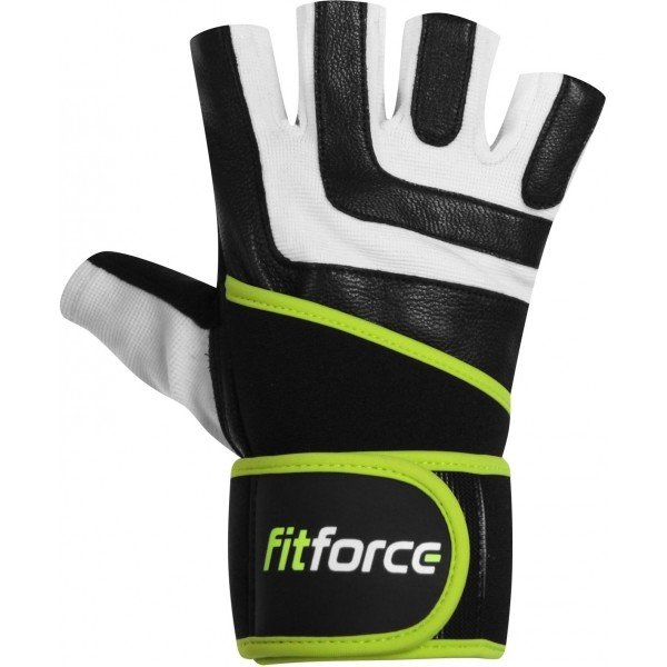 Bílo-černé pánské fitness rukavice Fitforce - velikost XS