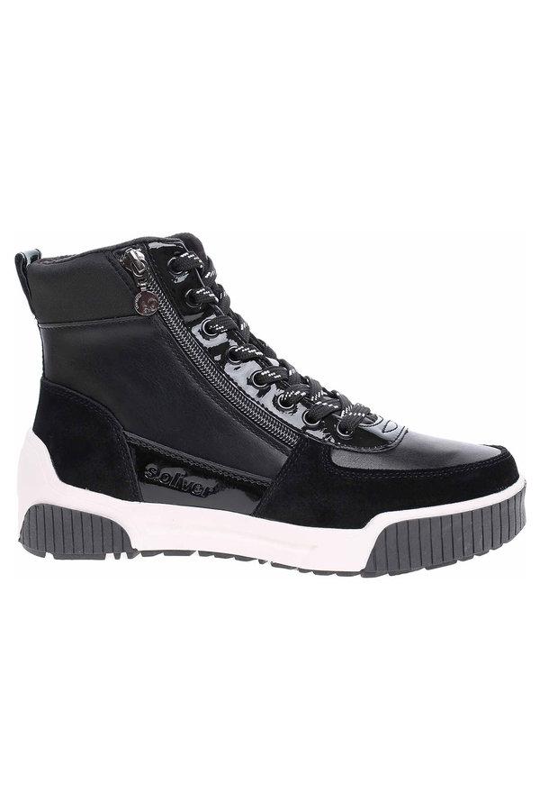 Černé dámské kotníkové boty s.Oliver
