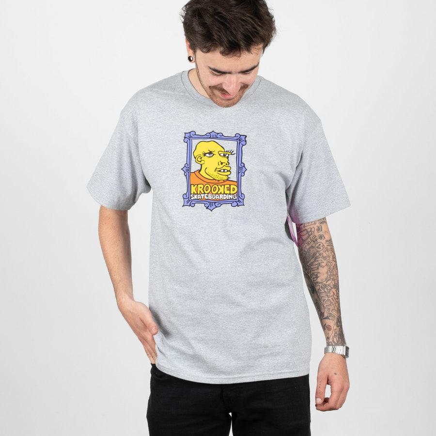 Šedé pánské tričko s krátkým rukávem Krooked