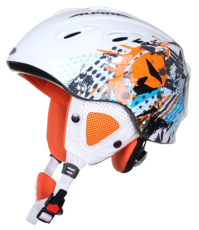 Bílo-oranžová lyžařská helma Alpina