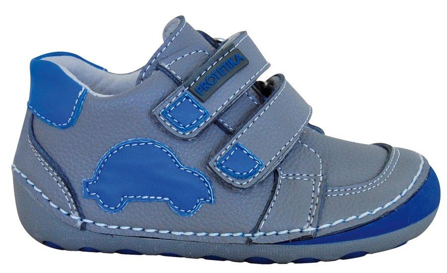 Modro-šedé dětské chlapecké kotníkové boty Protetika