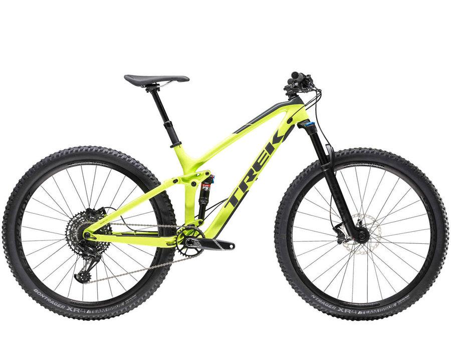 Žluté celoodpružené trailové kolo Fuel EX 9.7 2019, Trek