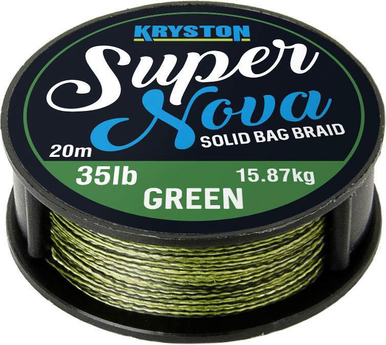 Návazcová šňůra - Kryston pletené šňůrky - Super Nova solid braid zelený 25lb 20m