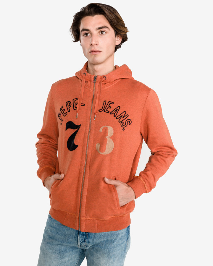 Oranžová pánská mikina s kapucí Pepe Jeans