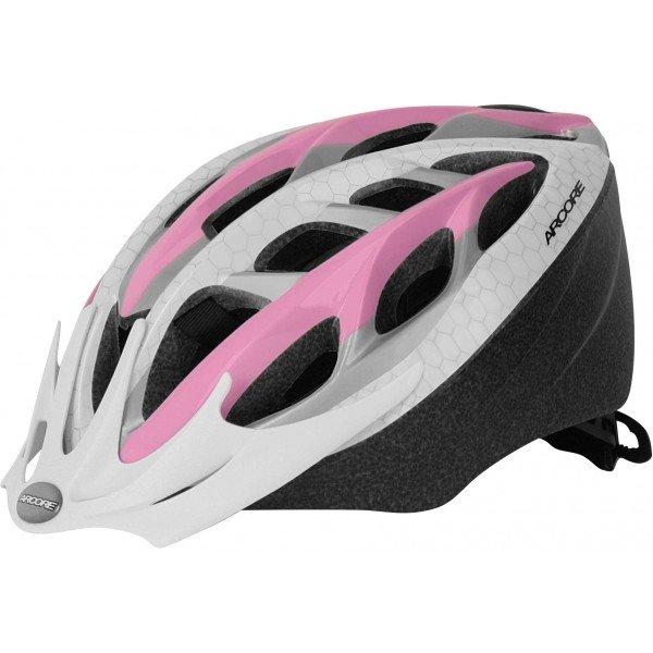 Bílo-růžová dámská cyklistická helma Arcore - velikost 50-54 cm