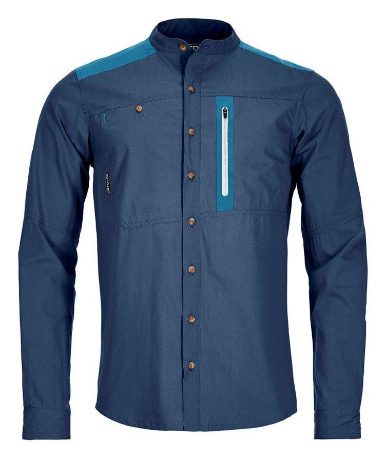 Modrá pánská turistická košile s dlouhým rukávem Ortovox