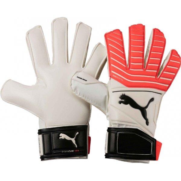 Bílo-růžové pánské brankářské fotbalové rukavice Puma