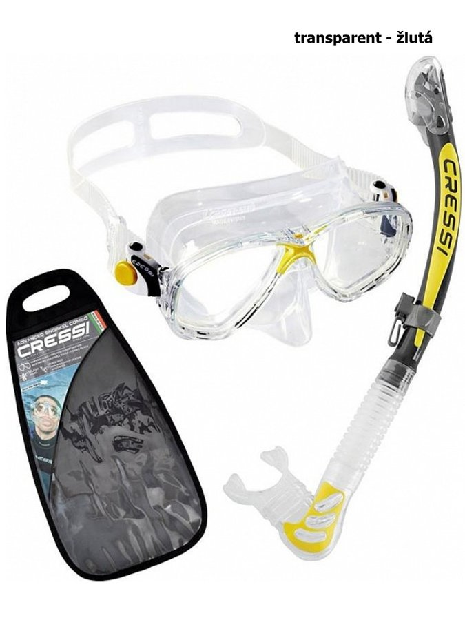 Potápěčská sada - Potápěčský set CRESSI Marea+Alpha Ultra Dry - transparent žlutá