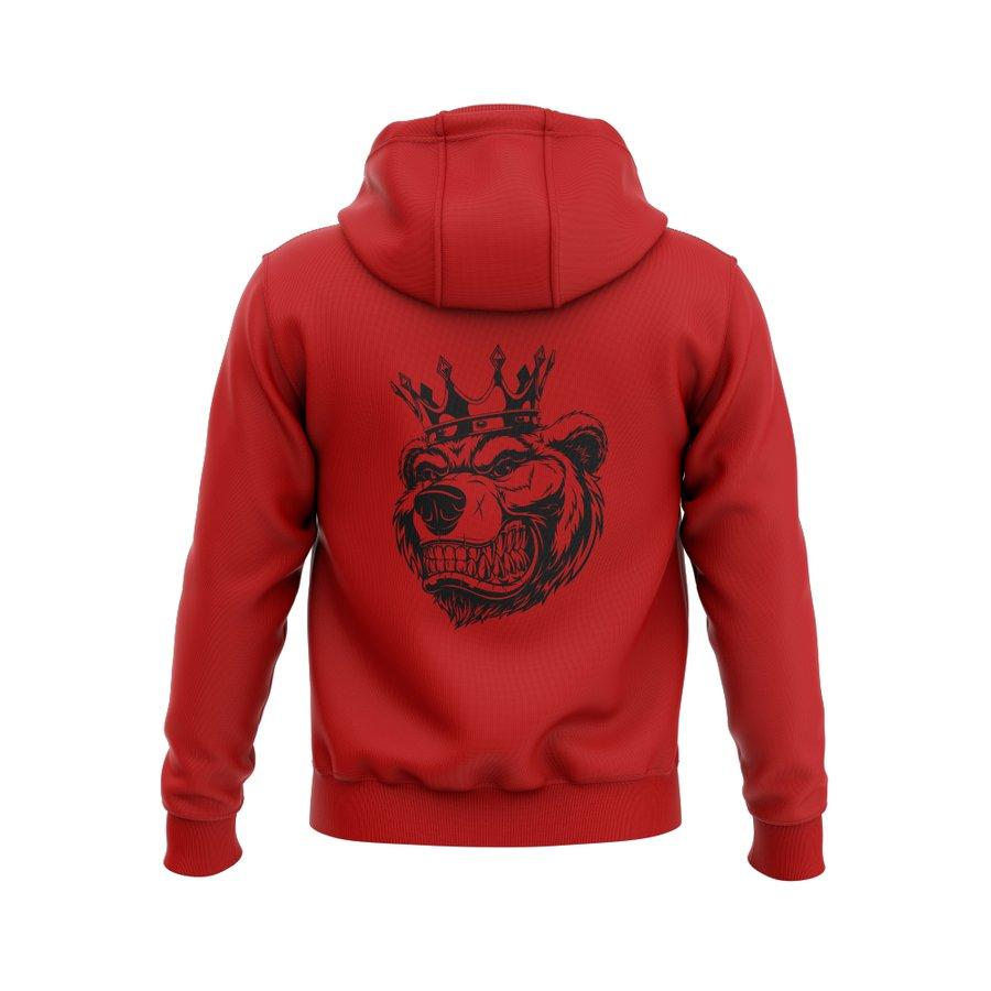 Červená mikina s kapucí Grizzly Gear