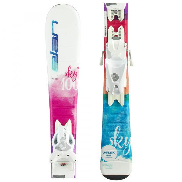 Bílo-růžové dívčí lyže s vázáním Elan