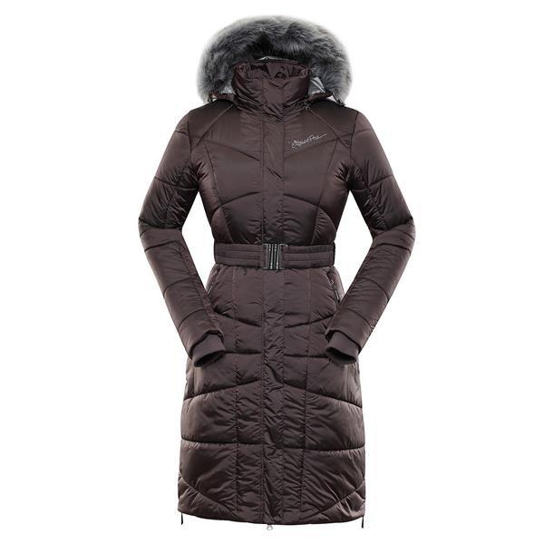Černý zimní dámský kabát s kapucí Alpine Pro - velikost M-L