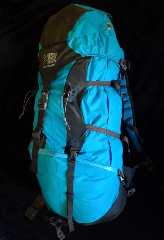 Modrý turistický batoh Karrimor - objem 55 l