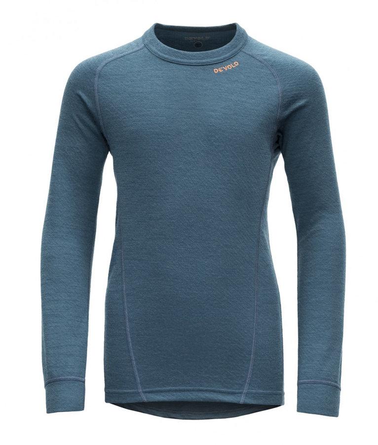 Modré dětské funkční tričko s dlouhým rukávem Devold - velikost 152