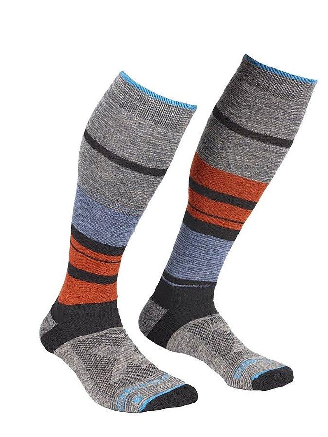 Oranžovo-šedé lyžařské ponožky Ortovox