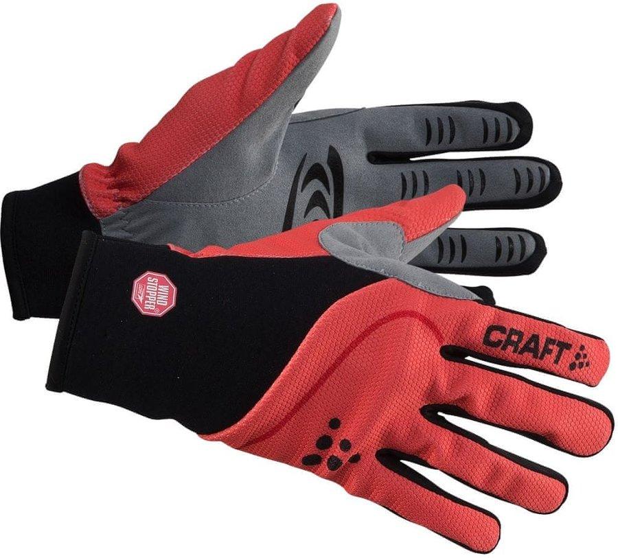 Černo-červené rukavice na běžky Craft - velikost M