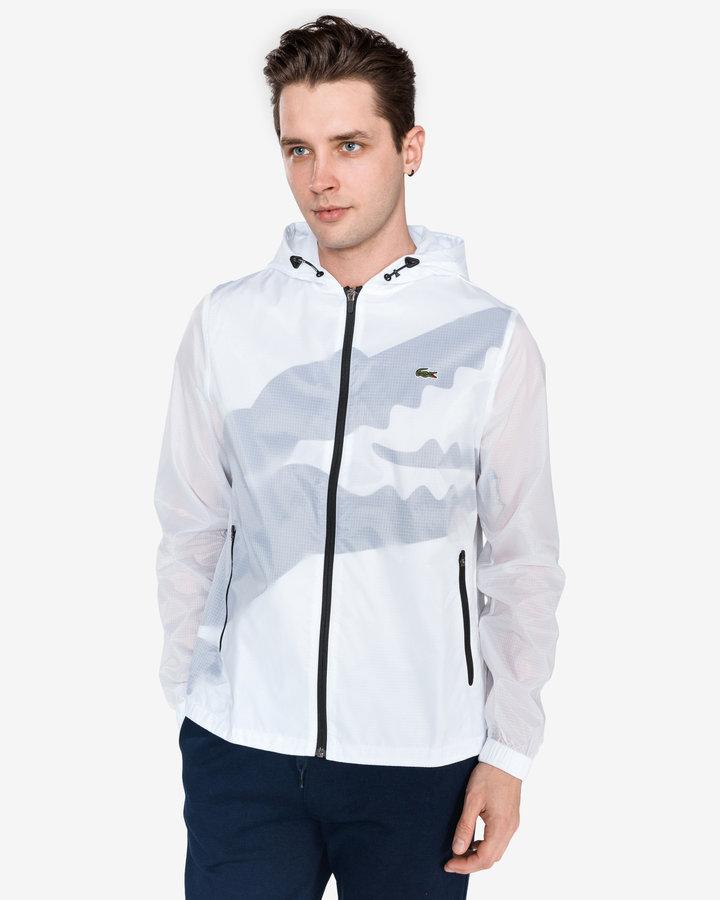 Bílá pánská bunda - větrovka Lacoste - velikost S