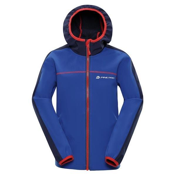 Modrá softshellová dětská bunda s kapucí Alpine Pro - velikost 140-146