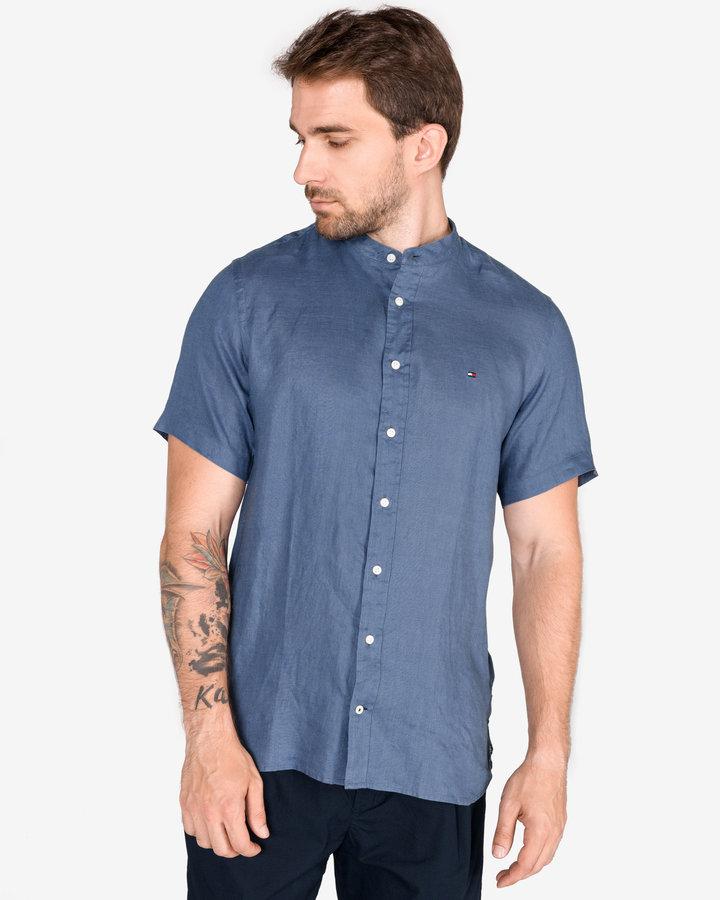 Modrá pánská košile s krátkým rukávem Tommy Hilfiger