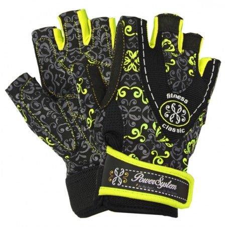 Černo-žluté fitness rukavice Power System