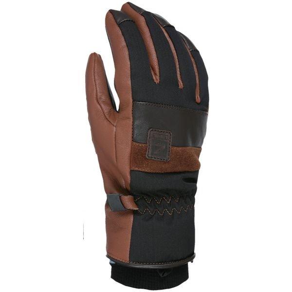 Černo-hnědé pánské lyžařské rukavice Level