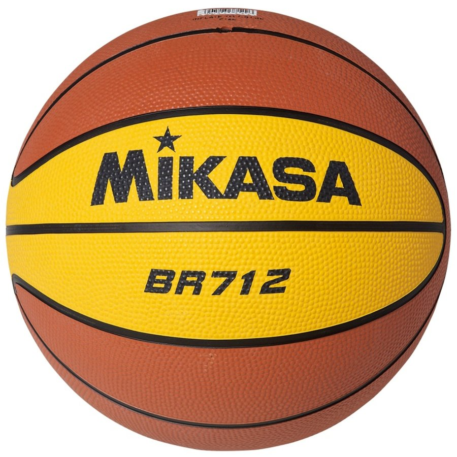 Hnědo-žlutý basketbalový míč BR712, Mikasa - velikost 7