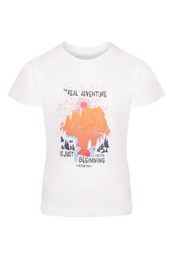 Bílé turistické tričko s krátkým rukávem Alpine Pro - velikost 104-110