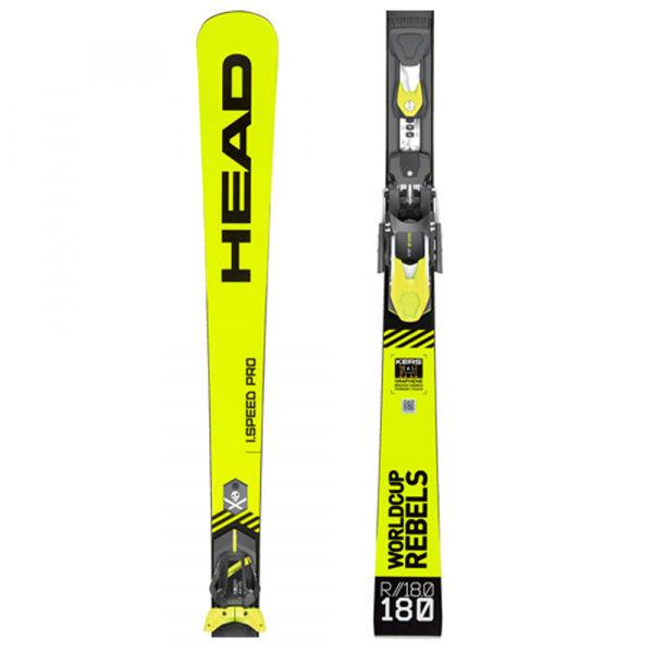 Zeleno-žluté lyže s vázáním Head - délka 175 cm