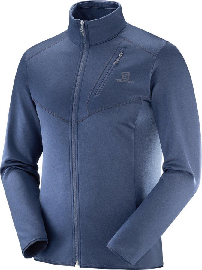 Modrá pánská lyžařská mikina bez kapuce Salomon - velikost M