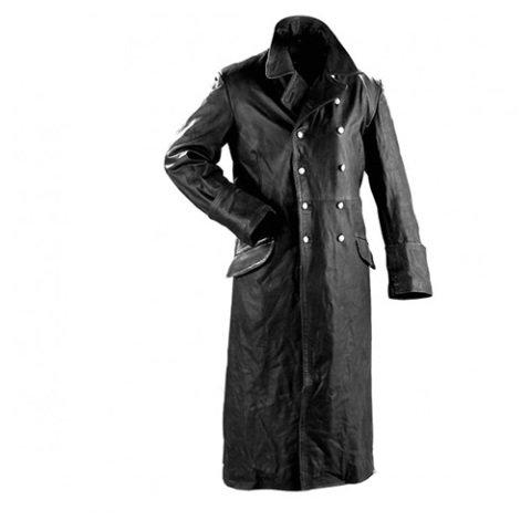Kabát - Kabát důstojnický kožený ČERNÝ + Dárek ZDARMA