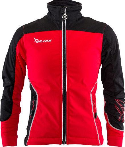 Černo-červená softshellová dětská bunda na běžky Silvini - velikost 158
